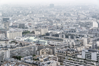 Residential district of Paris in foggy weather