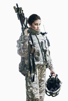 Army soldier carrying rifle and helmet standing against white background 11016033647| 写真素材・ストックフォト・画像・イラスト素材|アマナイメージズ