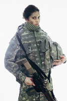Serious soldier holding rifle and helmet standing against white background 11016033667| 写真素材・ストックフォト・画像・イラスト素材|アマナイメージズ