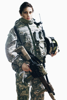 Female soldier holding rifle and helmet while standing against white background 11016033670| 写真素材・ストックフォト・画像・イラスト素材|アマナイメージズ