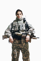Portrait of female soldier standing with rifle against white background 11016033672| 写真素材・ストックフォト・画像・イラスト素材|アマナイメージズ