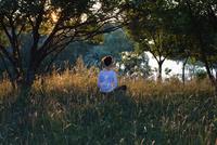 Rear view of woman meditating on grassy field by trees 11016033940| 写真素材・ストックフォト・画像・イラスト素材|アマナイメージズ