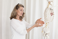 Female doctor showing skeleton while explaining anatomy at clinic 11016033941| 写真素材・ストックフォト・画像・イラスト素材|アマナイメージズ