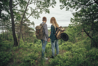 Rear view of couple holding hands while hiking at forest 11016034039| 写真素材・ストックフォト・画像・イラスト素材|アマナイメージズ