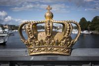 Golden crown on Skeppsholm Bridge, Stockholm, Sweden