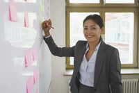Confident businesswoman writing on adhesive note at creative office 11016034266| 写真素材・ストックフォト・画像・イラスト素材|アマナイメージズ