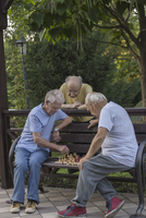 Senior friends playing chess on park bench against trees