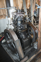 High angle view of spinning engine in a workshop