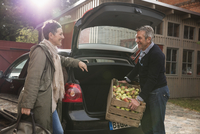 Happy woman looking at man putting apple crate in car trunk