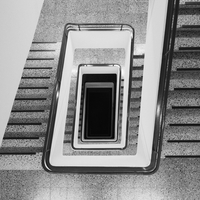 Directly above view of staircase in building