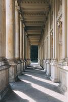 View through aisle alongside building