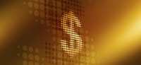 Spotted dollar sign against gold colored background