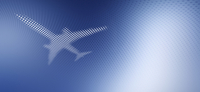 Spot patterned airplane over blue background