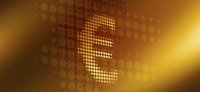 Close-up of spotted euro symbol over gold colored background