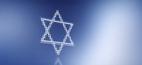 Star of David made from dots over blue background
