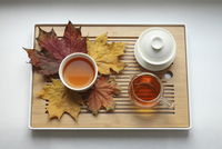 Directly above shot of herbal tea with teapots and dry maple leaves in tray on white background