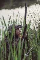 Side view of hunter sitting amidst grass at lakeshore 11016035181| 写真素材・ストックフォト・画像・イラスト素材|アマナイメージズ