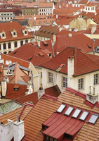 High angle view of buildings in town, Prague, Czech Republic 11016035377| 写真素材・ストックフォト・画像・イラスト素材|アマナイメージズ