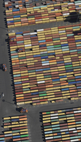 Aerial view of cargo containers at commercial dock
