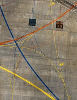 Aerial view of markings at airport 11016035486  写真素材・ストックフォト・画像・イラスト素材 アマナイメージズ