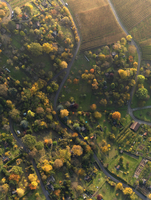 Aerial view of landscape during autumn, Hohenheim, Stuttgart, Baden-Wuerttemberg, Germany