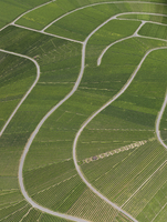 Aerial view of agricultural landscape, Hohenheim, Stuttgart, Baden-Wuerttemberg, Germany
