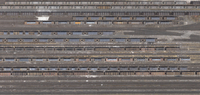 Aerial view of freight train carriages and tracks, North Rhine-Westphalia, Germany 11016035567| 写真素材・ストックフォト・画像・イラスト素材|アマナイメージズ