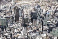 Aerial view of financial district and city, London, England, UK 11016035573  写真素材・ストックフォト・画像・イラスト素材 アマナイメージズ