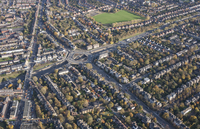 Full frame aerial view of residential area, London, England, UK 11016035579  写真素材・ストックフォト・画像・イラスト素材 アマナイメージズ