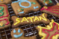 Close-up of gingerbread cookies on metal grate