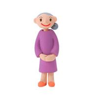 こちらを見て微笑むおばあさん クラフト