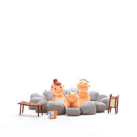 家族で温泉 クラフト 11017000035| 写真素材・ストックフォト・画像・イラスト素材|アマナイメージズ