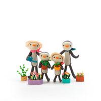 ガーデニングをするペンギンの家族 クラフト 11017000263| 写真素材・ストックフォト・画像・イラスト素材|アマナイメージズ