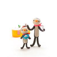 ペンギンの親子と洗濯物 クラフト