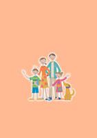 並んでいる家族と犬 クラフト