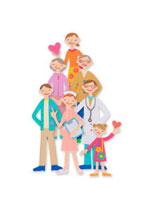 並んでいる家族と医者と看護師 クラフト 11017000504| 写真素材・ストックフォト・画像・イラスト素材|アマナイメージズ