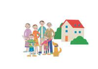 並んでいる家族と家 クラフト