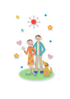 2人のカップルと犬 クラフト 11017000510| 写真素材・ストックフォト・画像・イラスト素材|アマナイメージズ