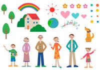 並んだ家族と家や虹や木などのパーツ クラフト 11017000546| 写真素材・ストックフォト・画像・イラスト素材|アマナイメージズ