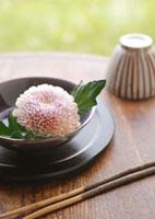 和食器に浮かべた菊の花と箸
