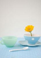 水玉のブルーの食器に飾った黄色いガーベラの花とスプーン
