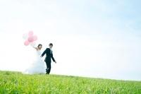 草原で手をつなぐ新郎新婦 11017003892| 写真素材・ストックフォト・画像・イラスト素材|アマナイメージズ