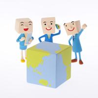 地球とビジネスマンのクラフト