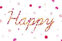 花で作ったHappyの文字 11017005422| 写真素材・ストックフォト・画像・イラスト素材|アマナイメージズ