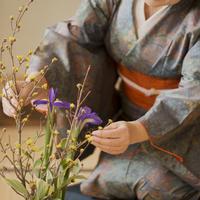 生け花をするシニア女性の手元