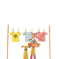 3枚の洗濯物を干す女性と犬 クラフト