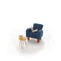 ミニチュアルームの青いソファ クラフト