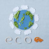 フェルトとレタスの葉で作った地球のエコイメージ