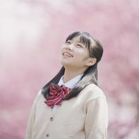 桜を見上げ微笑む女子中学生