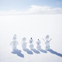 雪原で一列に並ぶ雪だるま 11017017361  写真素材・ストックフォト・画像・イラスト素材 アマナイメージズ